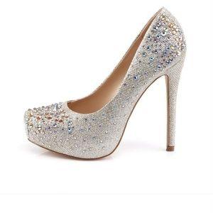 Pleaser Shoes - Gold/Nude Rhinestone Heels